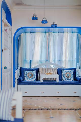 大户型套房地中海风格天蓝色调装修效果图