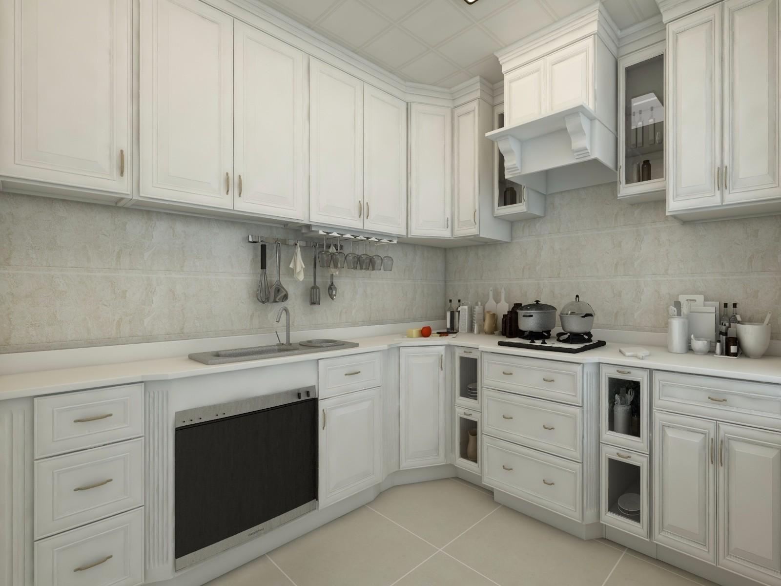 136㎡欧式简约风格橱柜众多的厨房装修效果图