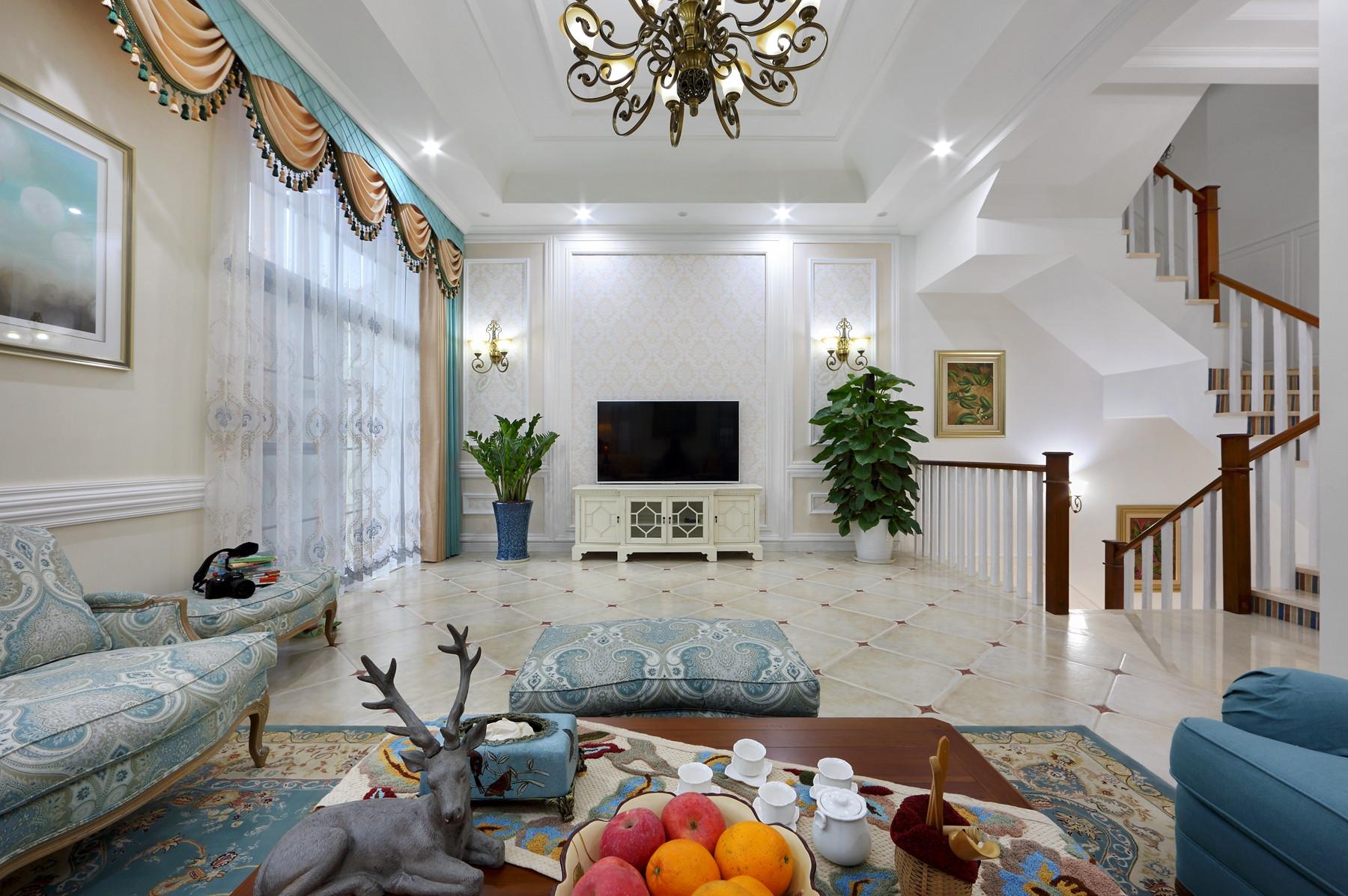 美式豪华别墅电视背景墙装修布置图片