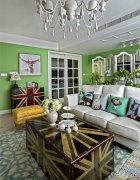 英式田园风格设计三居室客厅装修效果图