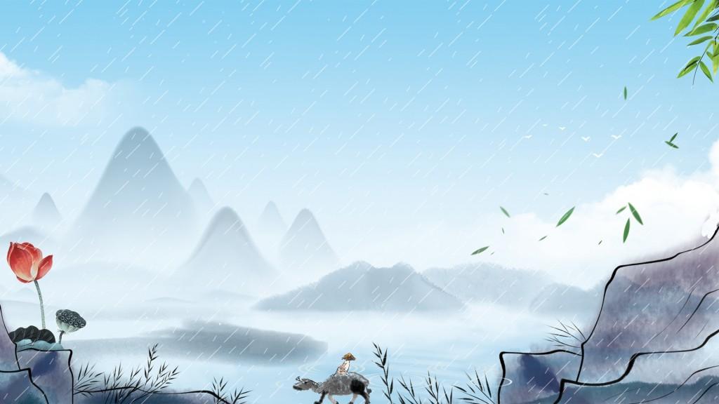 清明时节牧童水墨画壁纸图片